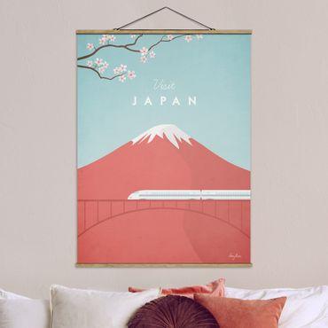 Stoffbild mit Posterleisten - Reiseposter - Japan - Hochformat 4:3