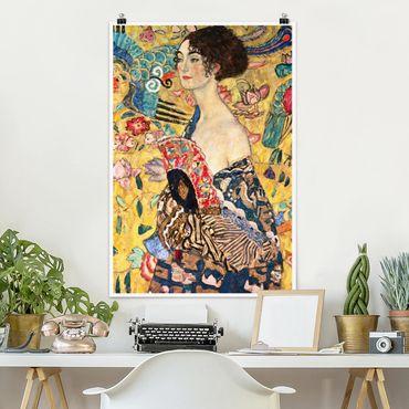 Poster - Gustav Klimt - Dame mit Fächer - Hochformat 3:2
