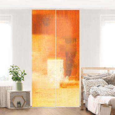 Schiebegardinen Set - Komposition in Orange und Braun 03 - Flächenvorhänge
