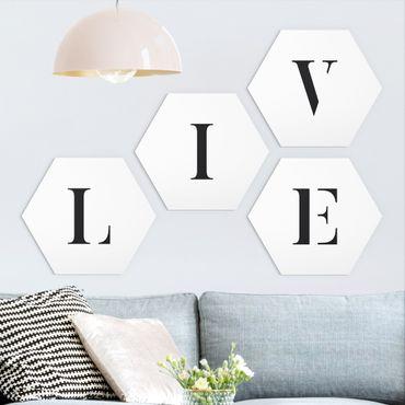 Hexagon Bild Forex 4-teilig - Buchstaben LIVE Schwarz Set II