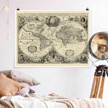 Poster - Vintage Weltkarte Antike Illustration - Querformat 3:4