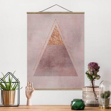 Stoffbild mit Posterleisten - Geometrie in Rosa und Gold II - Hochformat 4:3