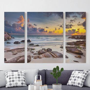 Leinwandbild 3-teilig - Strand Sonnenaufgang in Thailand - Triptychon