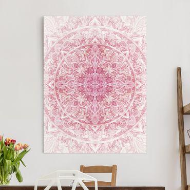 Leinwandbild - Mandala Aquarell Sonne Ornament rosa - Hochformat 4:3