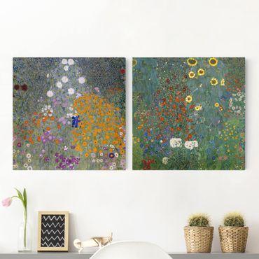 Leinwandbild 2-teilig - Gustav Klimt - Im grünen Garten - Quadrate 1:1