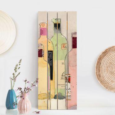 Holzbild - Weinflaschen in Wasserfarbe I - Hochformat 5:2