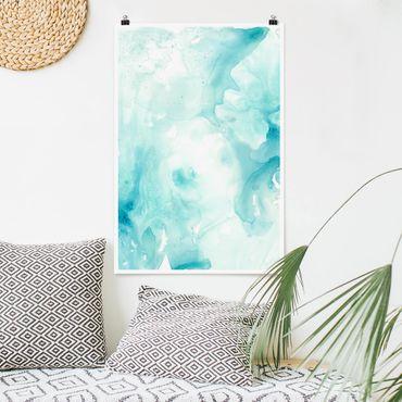 Poster - Emulsion in weiß und türkis II - Hochformat 3:2