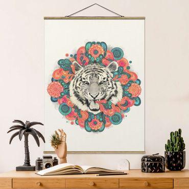 Stoffbild mit Posterleisten - Laura Graves - Illustration Tiger Zeichnung Mandala Paisley - Hochformat 4:3