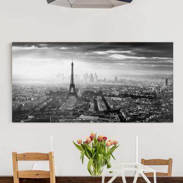 Leinwandbild - Der Eiffelturm von Oben Schwarz-weiß - Querformat 1:2