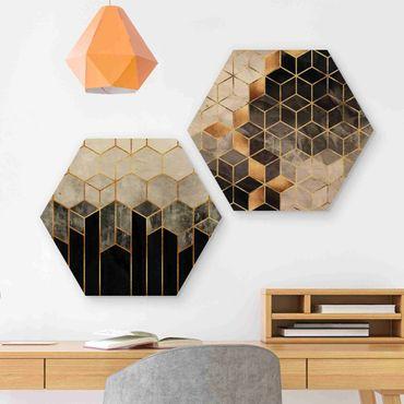 Hexagon Bild Holz 2-teilig - Elisabeth Fredriksson - Goldene Geometrie Aquarell Set