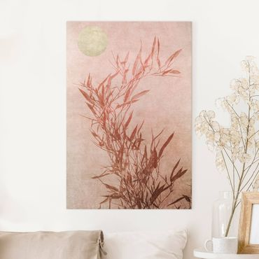 Leinwandbild - Goldene Sonne mit Rosa Bambus - Hochformat 3:2