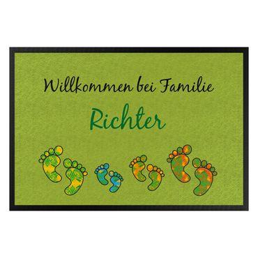 Fußmatte mit Wunschtext - Willkommen Fußabdrücke Wunschtext