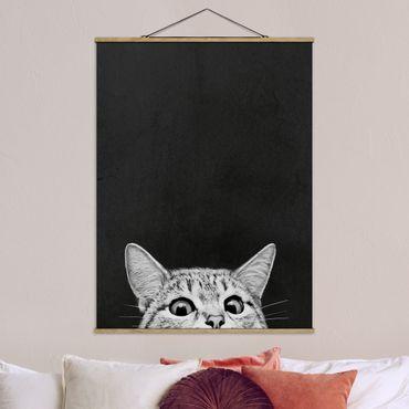 Stoffbild mit Posterleisten - Laura Graves - Illustration Katze Schwarz Weiß Zeichnung - Hochformat 4:3