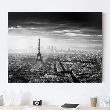 Leinwandbild - Der Eiffelturm von Oben Schwarz-weiß - Querformat 3:4