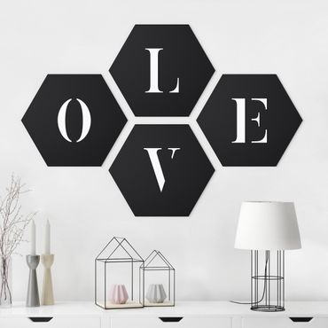 Hexagon Bild Alu-Dibond 4-teilig - Buchstaben LOVE Weiß Set II