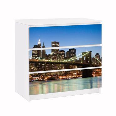 Möbelfolie für IKEA Malm Kommode - Klebefolie Brooklyn Brücke in New York