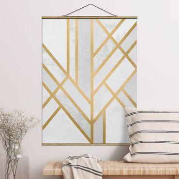 Stoffbild mit Posterleisten - Elisabeth Fredriksson - Art Deco Geometrie Weiß Gold - Hochformat 4:3