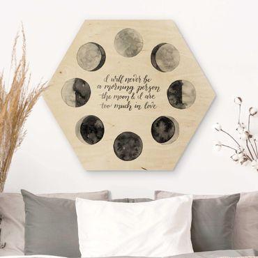 Hexagon Bild Holz - Ode an den Mond - Liebe