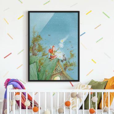 Bild mit Rahmen - Frida und Kater Pumpernickel lassen die Sterne frei - Hochformat 3:4