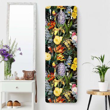 Garderobe - Blumen mit Tropischen Vögeln Bunt