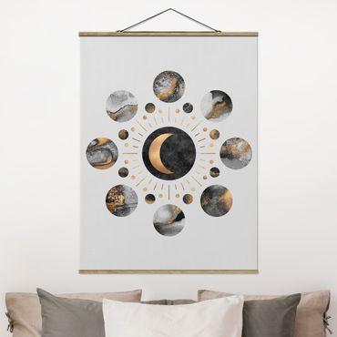 Stoffbild mit Posterleisten - Elisabeth Fredriksson - Mondphasen Abstrakt Gold - Hochformat 4:3