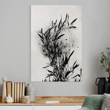 Leinwandbild - Grafische Pflanzenwelt - Schwarzer Bambus - Hochformat 3:2
