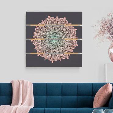 Holzbild - Mandala Ornament in Rose und Blau - Quadrat 1:1