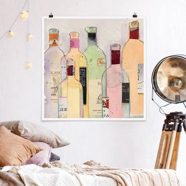 Poster - Weinflaschen in Wasserfarbe I - Quadrat 1:1