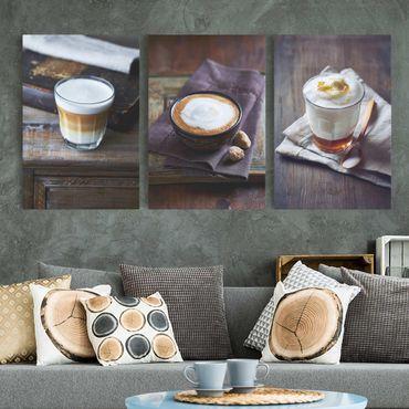 Leinwandbild 3-teilig - Caffè Latte - Hoch 2:3