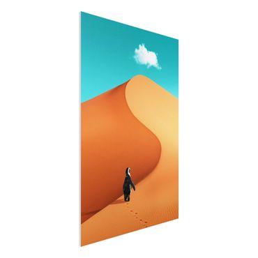 Forex Fine Art Print - Jonas Loose - Wüste mit Pinguin - Hochformat 3:2
