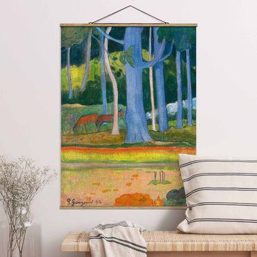 Stoffbild mit Posterleisten - Paul Gauguin - Waldlandschaft - Hochformat 4:3