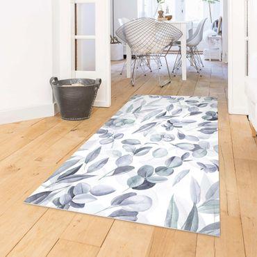 Vinyl-Teppich - Blaue Eukalyptus Aquarellblätter - Hochformat 1:2