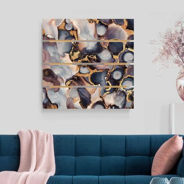 Holzbild - Elisabeth Fredriksson - Marmor Aquarell mit Gold - Quadrat 1:1