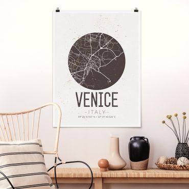Poster - Stadtplan Venice - Retro - Hochformat 3:4