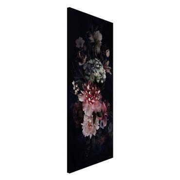 Magnettafel - Blumen mit Nebel auf Schwarz - Memoboard Panorama Hochformat 2:1