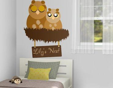 Wandtattoo Babyzimmer Baum Vögel Eule No.CA37 WunschText Eulennest