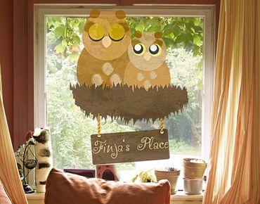 Fensterfolie - Fenstersticker No.CA37 WunschText Eulennest - Fensterbilder