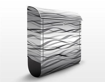 Briefkasten mit Zeitungsfach - Bänder Design Muster - Streifenmuster Schwarz-Weiß