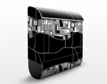 Briefkasten mit Zeitungsfach - Modernes Designmuster - Modern Grau