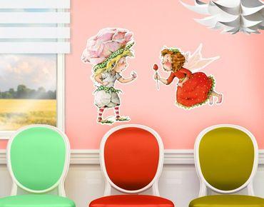 Wandtattoo No.678 Erdbeerinchen Erdbeerfee - Rosa Rose 100x68cm