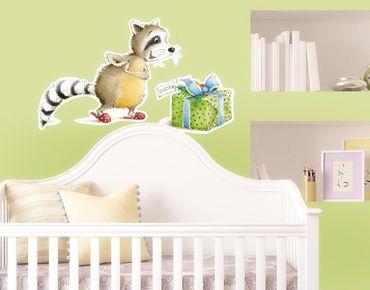 Wassili Waschbär - Wandtattoo Kinderzimmer No.684 Wassili bekommt ein Geschenk 106x65cm - Arena Verlag