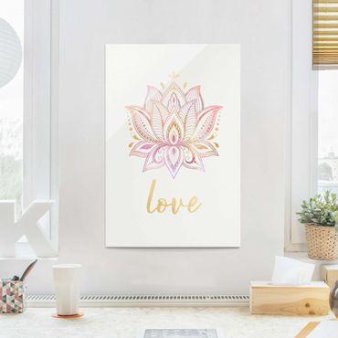 Glasbild - Lotus Illustration Love gold rosa - Querformat 2:3