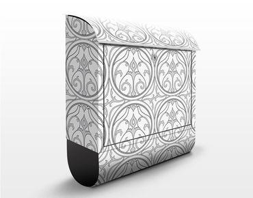 Briefkasten mit Zeitungsfach - Kreis Ornament - Wandbriefkasten Grau