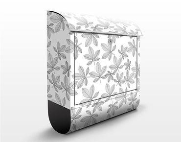 Wandbriefkasten - Kastanienblatt Hintergrundmuster - Briefkasten Weiß