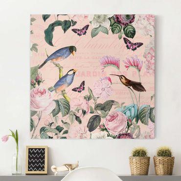 Leinwandbild - Vintage Collage - Rosen und Vögel - Quadrat 1:1