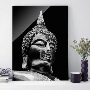 Glasbild - Buddha Statue Gesicht - Hochformat 4:3