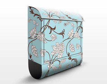 Briefkasten mit Zeitungsfach - Hellblaues Blumenmuster - Briefkasten Blumen