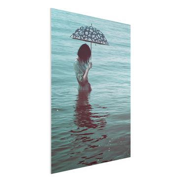 Forex Fine Art Print - Spaziergang im Wasser - Hochformat 4:3