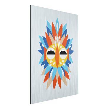 Aluminium Print gebürstet - Collage Ethno Maske - Papagei - Hochformat 4:3