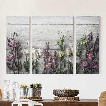 Leinwandbild 3-teilig - Tulpen-Rose Shabby Holzoptik - Triptychon